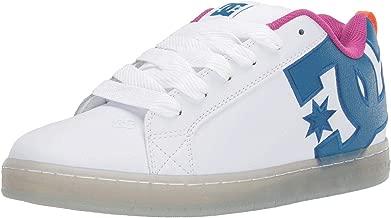 #DC Court Graffik SE White Cyan Leather Mens Skate Trainers Shoes