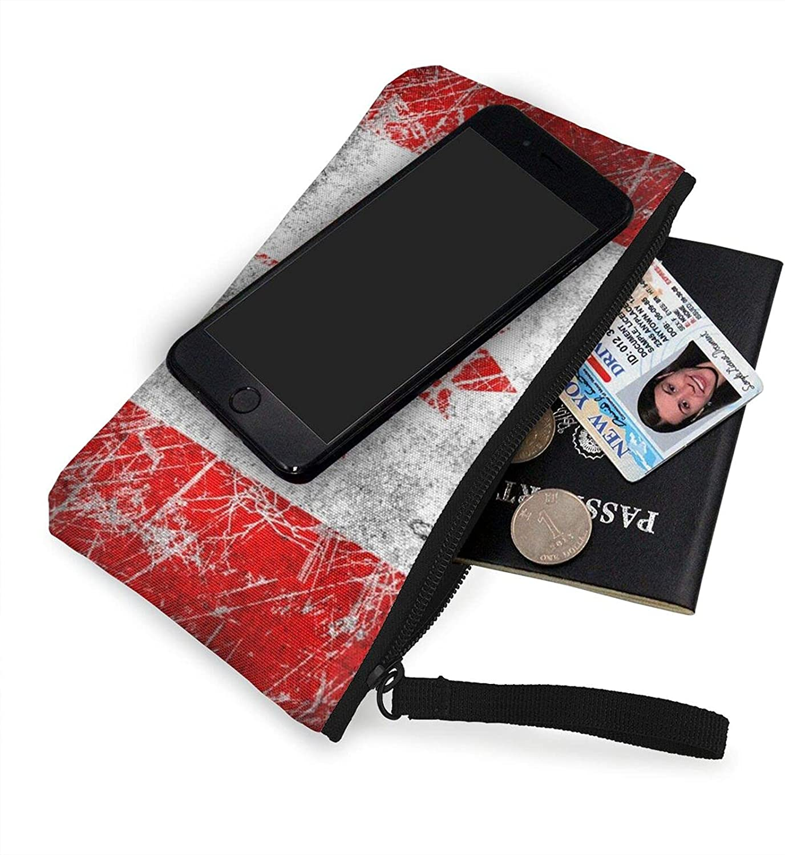 AORRUAM Retro Canada Flag Canvas Coin Purse,Canvas Zipper Pencil Cases,Canvas Change Purse Pouch Mini Wallet Coin Bag