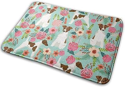 """Smooth Fox Terrier Floral Flowers Dog Breed Mint_27678 Doormat Entrance Mat Floor Mat Rug Indoor/Outdoor/Front Door/Bathroom Mats Rubber Non Slip 23.6"""" X 15.8"""""""