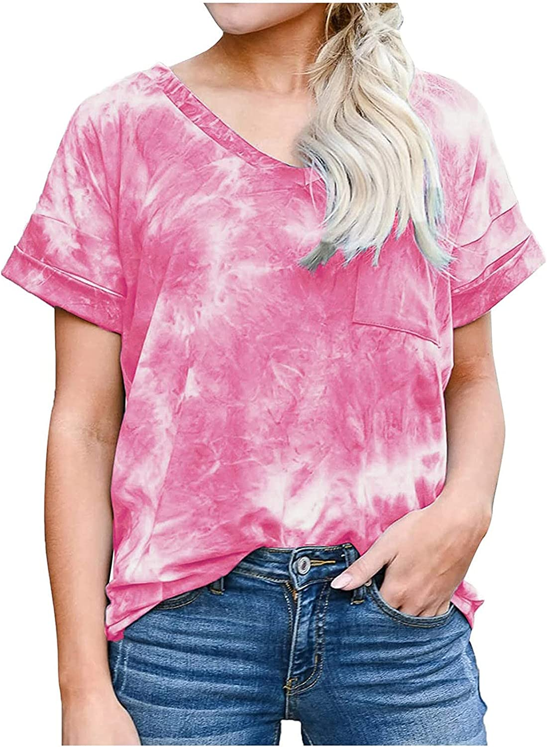 Womens Tie Dye Shirts Gradient Rainbow Loose Cheap mail order shopping Max 50% OFF Casual Top Summer F