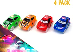 4 PACK Light Up Toy Cars with 5 LED Each | Blue and Green Sport Jeeps & Blue and Yellow School Bus | Compatible with Most Tracks Including Magic Tracks | For Boys and Girls | Colors may varies