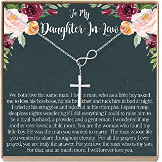 Dear Ava Daughter-in-Law Gift Necklace: Wedding Gift, Jewelry from Mother-in Law, Infinity Cross