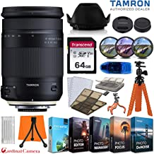 Tamron 18-400mm f/3.5-6.3 Di II VC HLD Lens for Canon EF Mount Cameras (6-Year Tamron Warranty) w/ 64GB Memory Card + Photo/Video Editing Software + Spider Flex Tripod & Basic Travel Accessory Bundle