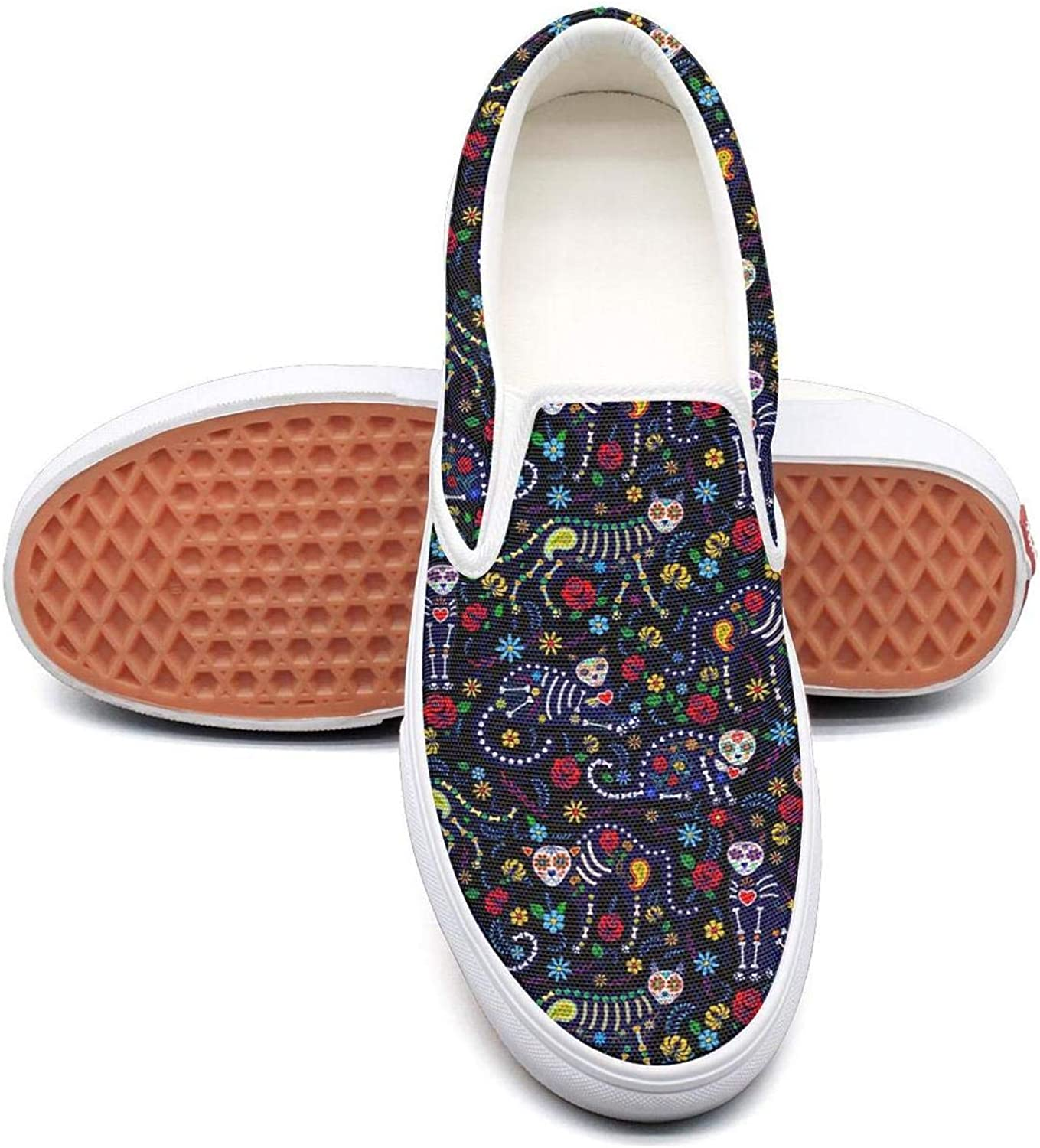 colorful Mexican Candy Skull Slip On Rubber Sole Loafers Canvas shoes for Women Fashion