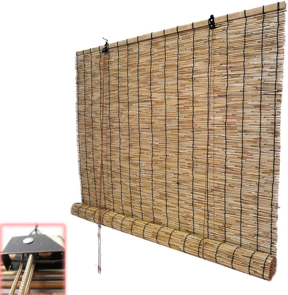 Zlovne Natural Reed 半額 Curtain Retro Lou Roman Carbonization Blinds 送料無料新品