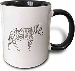 3dRose 21449_4 Zebra Standing Outline Art Drawing - Two Tone Black Mug 11 oz Multicolored