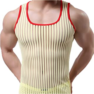 Elonglin Men's Mesh See-Through Tank Top Vest Gym Wear Striped Slim Fit Vest