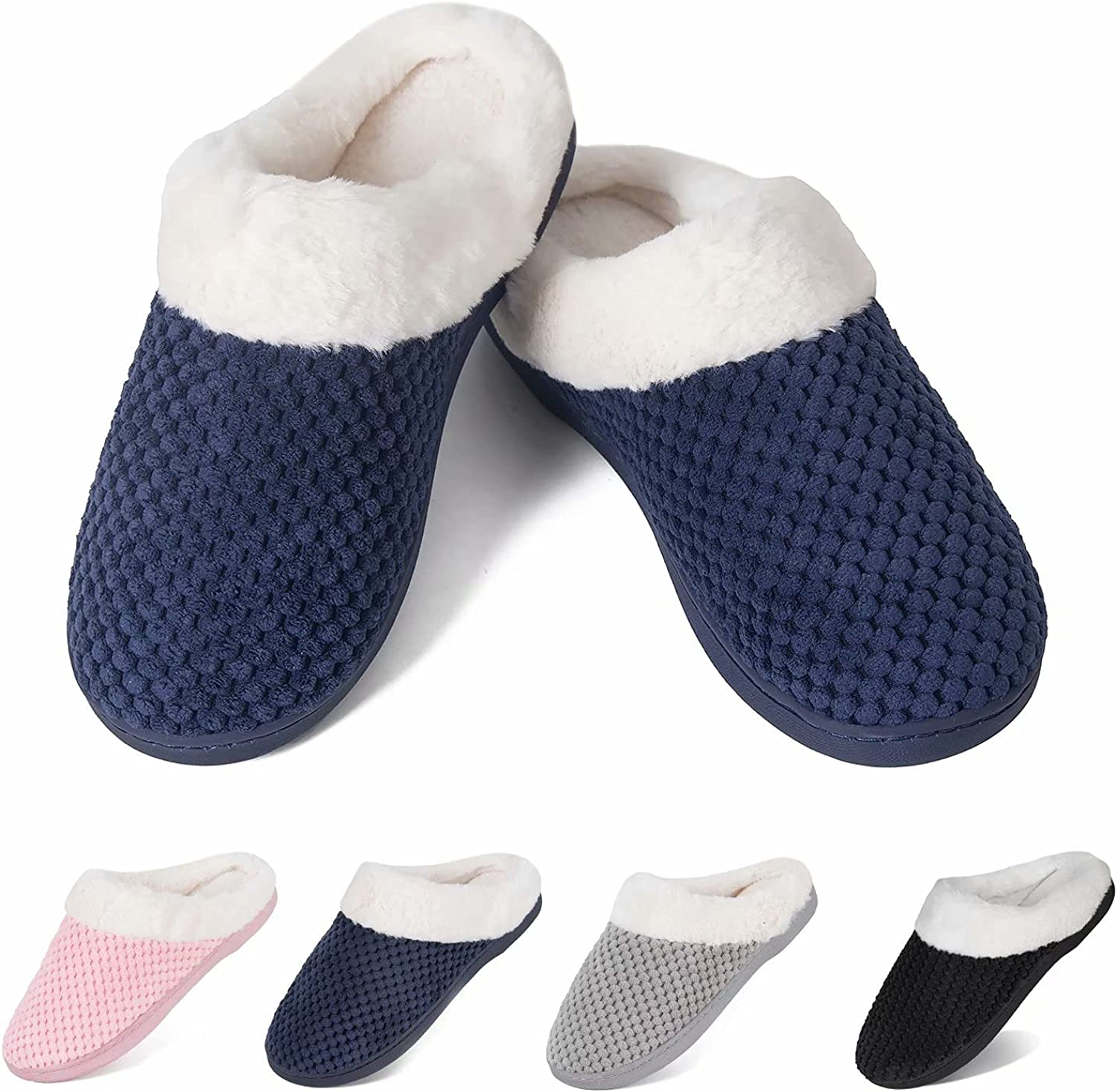 Slippers for Womens Warm Memory Foam Anti-Slip House Shoes Comfortable Cotton Slippers Home Bedroom Shoes Indoor & Outdoor