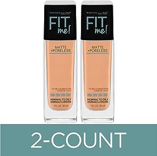 Maybelline Fit Me Matte + Poreless Liquid Foundation Makeup, Buff Beige, 2 COUNT