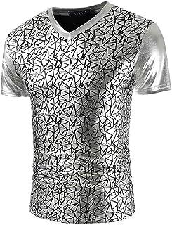 Abeaicoc Men's Sequins Metallic V-Neck Printed Slim Fit Short Sleeve T Shirts Tee