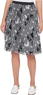 Women's Pleated Chiffon Skirt Black Ivory XS