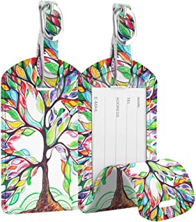 [2 Pack] Luggage Tags, Fintie Leather Name ID Labels w/Back Privacy Cover for Travel Bag Suitcase, Love Tree