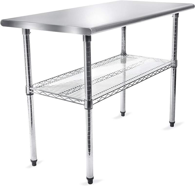 GRIDMANN Stainless Steel 49 In X 24 In Commercial Kitchen Prep Work Table W Wire Undershelf