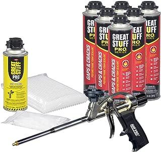 Dow Great Stuff PRO Gaps and Cracks 24 oz cans (6) + AWF Pro Foam Gun (1)+ Plastic Extension Straws (100) + Plastic Tips (100) + Dow Foam Cleaner (1)