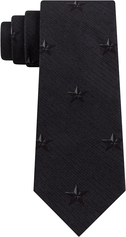 DKNY Mens Gray Broken Stripe Star-Print Classic Neck Tie