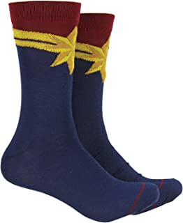 Captain Marvel Cosplay Crew Socks 1 Pair Carol Danvers Suit Marvel Hosiery