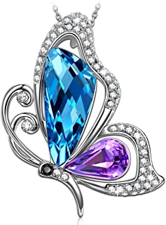 SIVERY Necklaces for Women 'Butterfly Kiss' Jewelry Woman Necklace Pendant with Blue Purple Swarovski Crystal, Jewelry for Women, Gifts for Mom