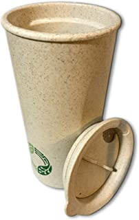 Hsc Reusable Coffee Cup, Wheat Straw Fiber Double wall Insulated Tea cup with Lid, Eco-Friendly BPA free, Non-Toxic Travel Mug for home, school, Travel and Office, 450ml, 16oz