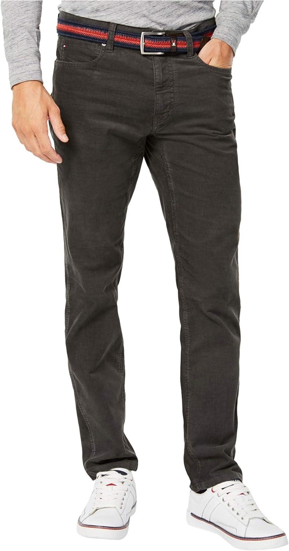 Tommy Hilfiger Mens Custom Fit Casual Corduroy Pants, Grey, 30W x 30L