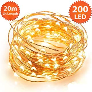 ANSIO Christmas String Lights Micro 200 LED 20m Warm White Indoor Fairy Lights Festive Wedding Bedroom Novelty Decorations Tree Lights Mains Powered 65ft Lit Length 3m/9ft Lead Wire Copper Cable