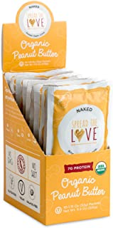 Spread The Love NAKED Organic Peanut Butter, 16 Ounce (Organic, All Natural, Vegan, Gluten-free, Creamy, Dry-Roasted, No added salt, No added sugar, No palm oil) ((1.15 oz) (10-pack))