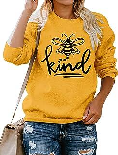 Dresswel Women Bee Kind Sweatshirt Pullover Crew Neck Long Sleeve Tops Bee Graphic Jumpers Blouse