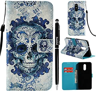 LG Stylus 4 Case Wallet, Badalink LG Stylo 4 Leather Case LG Q Stylus Case Shock Absorption Cover Magnetic Kickstand Slim Bumper Credit Card Scratch Resistant Skin with Stylus Pen - Skull
