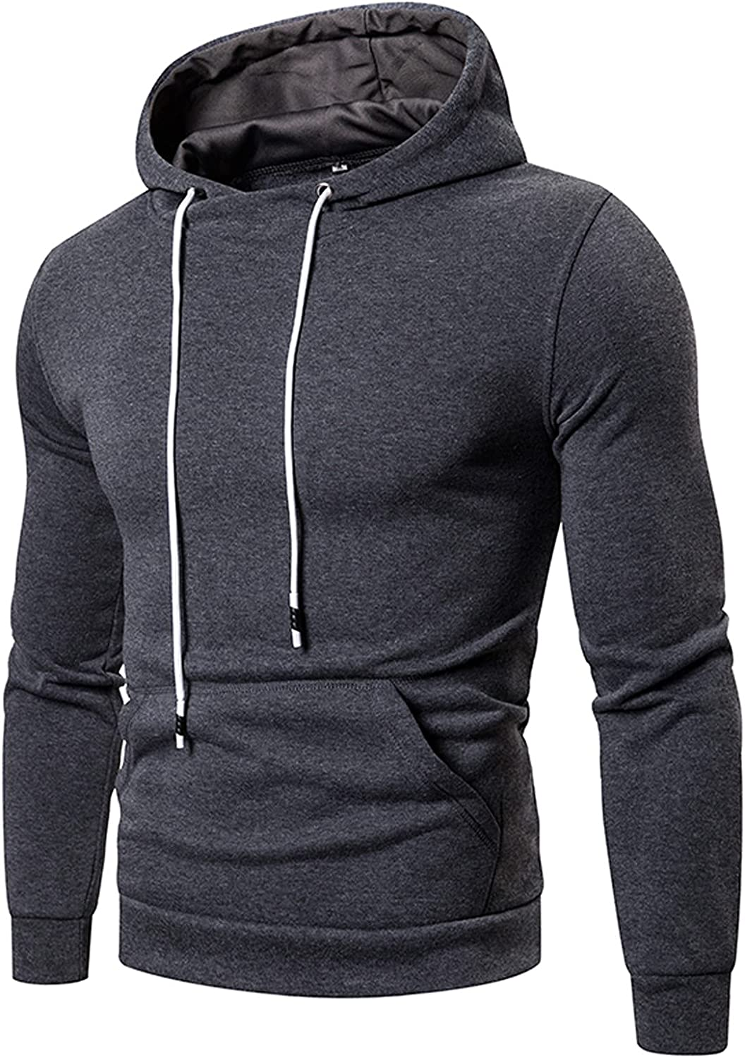 HONGJ Hoodies for Mens, Fall Fashion Athletic Casual Solid Drawstring Workout Sports Hooded Sweatshirts with Pockets