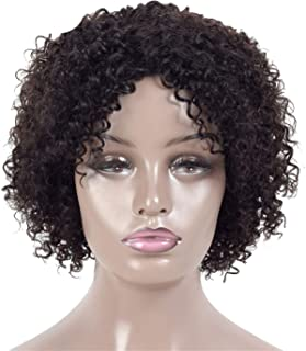 MAKEEN TSHIRT Short Human Hair Wigs For Black Women Jerry Curl Human Hair Wigs 4 Colors