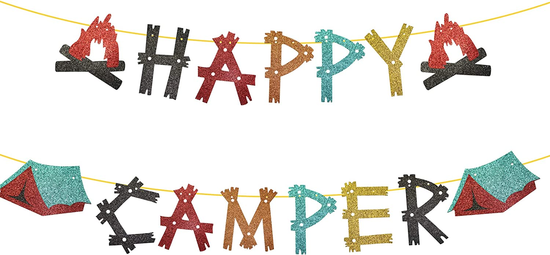 Happy Camper Banner, Glittery Camping Birthday Banner, Camping Birthday Party Decorations, Boys GirlS Camping Birthday Party Supplies, Home Yard Campsite Birthday Decor