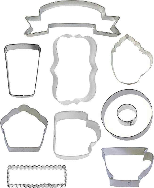 10 Piece Cafe Coffee Shop Cookie Cutter Set Donut