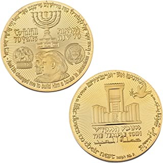 Donald Trump Gold Coin Jewish Temple Jerusalem Israel USA 70th Anniversary Collectable Gold Plated Commemorative Coin