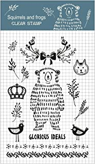 Squirrels and frogs 8 Sheets Different Theme Friendly Phrases Clear Stamps for Card Making Decoration and Scrapbooking (bear)