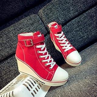 XL_nsxiezi Plataforma de la Mujer Zapatos de Lona Alto-Top Zapatos Casuales Cremallera Lateral Aumento
