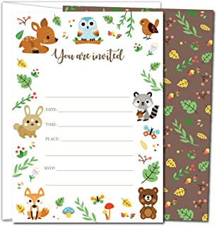 Gooji Woodland Party Invites – 5x7 Large 25pcs Double Sided Woodland Invitations with 25 Envelopes – Animal Invite Cards for Baby Shower, Birthday Party