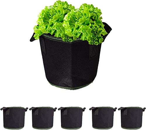 popular labworkauto 2 Gallon Fabric Grow Bag Heavy Duty Breathable Fabric Pots wholesale Plant Bags Grow Pots Fabric Plant Containers with Handles Fit for Grow Plants Flowers Vegetables popular Garden Indoor Outdoor 5pcs outlet online sale