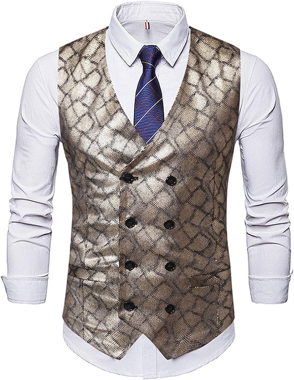 Men's Classic Waistcoat,Double Print Breasted Slim Fit Vest,Formal Wedding Business Vest