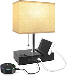 USB Table Lamp with 2 Useful USB Ports & One Outlet, Aooshine USB Bedside Lamp,..