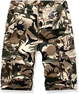 Howely Men Fashion Big and Tall Multi Pockets Camouflage Casual Cargo Short