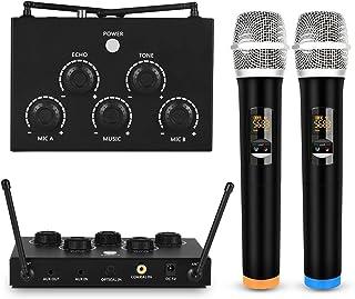 Karaoke portátil con dos micrófonos inalámbricos y un receptor/mezclador de micrófonos UHF dos en uno, TRS de 3.5 mm/entrada/salida óptica/coaxial para altavoz o cine en casa