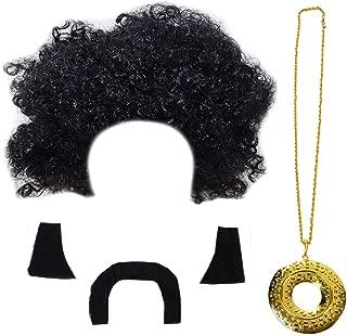 Tigerdoe Disco Costume Men - Afro Wigs - Disco Accessories - Rock Disco Costume - 70's Costumes - 4 Pc Set