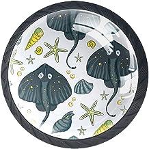 Ladeknoppen Ronde Kast Handgrepen Pull voor Thuiskantoor Keuken Dressoir Garderobe Decorate,Zee Vector Ocean Tropical