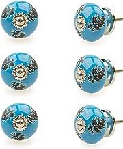 Möbelknopp möbelknopp möbelhandtag set av 6 123GN struktur stansmönster natur blå – jay knapp keramik porslin handmålade v...