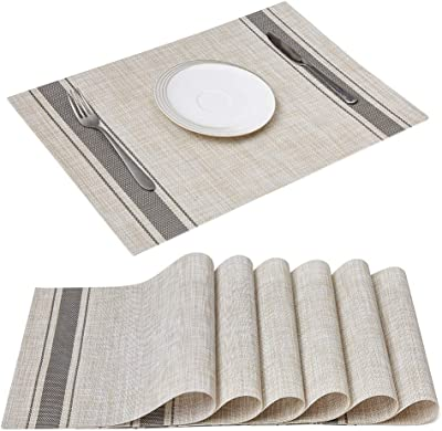 """Jujin 17.7/"""" Placemats Set of 8 Non-Slip Washable PVC Heat Resistant Table Mats for Dining Table Red"""