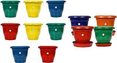Gamla/Planter/Pot 10 - inch (Set of 4 Colourful pots) with Round Plastic Plant Saucer/Bottom p & Gamla/Planter/Pot (10 inch, Multicolour, Set of 8) Combo
