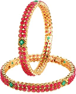 f2775cbc8f2 Yellow Chimes Ruby Stones 2 PC Bangle Set Traditional Gold Plated Bangles  for Women and Girls
