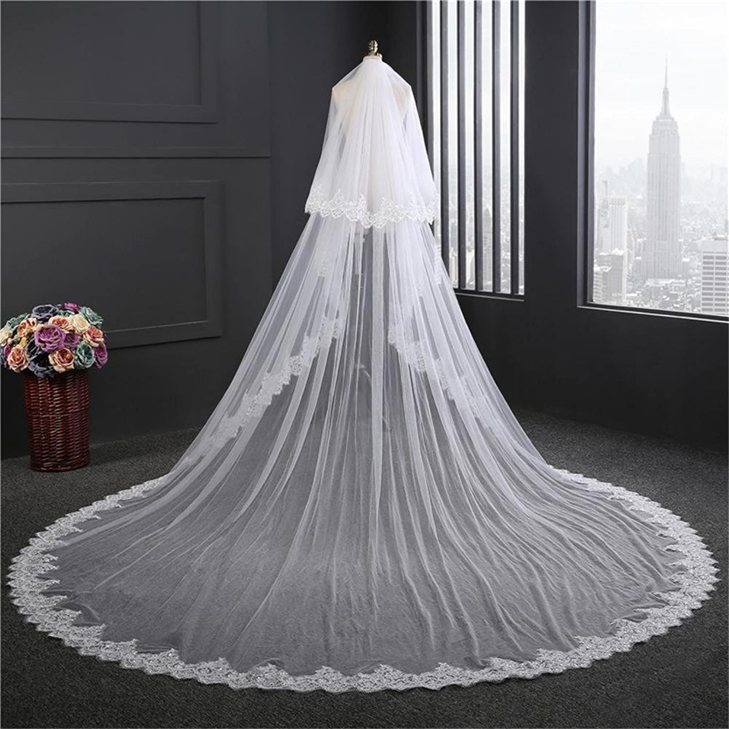 Bridal Veils 3.5M Long Wedding Veil White Ivory Lace Edge Wedding Accessories Mariage Bride Veils with Comb