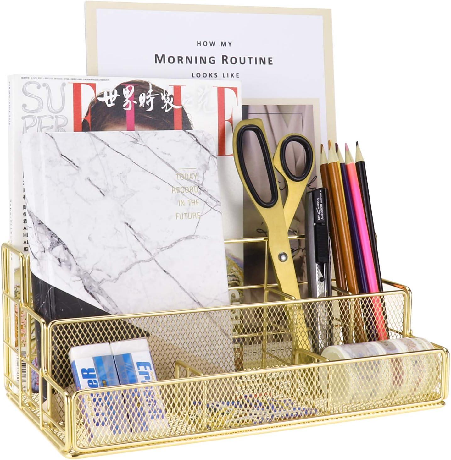 LEORISO Gold Desk Accessories OFFicial shop Organizer Metal Durable Su Arlington Mall Office