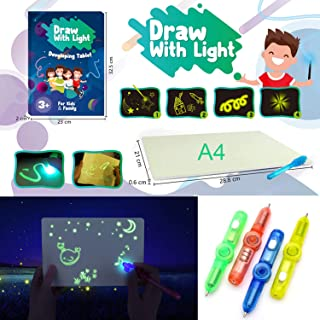 Light Drawing Board Tablet A4 Size for Kids Bundle with Creative Invisible (Assorted Color) Glow Ink Gyro Pen