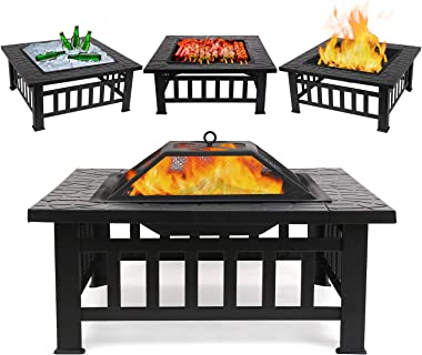 "FIXKIT Fire Pit Table Outdoor with BBQ Grill Shelf, Multifunctional Garden Terrace Fire Bowl Heater/BBQ/Ice Pit, 32"" Diameter Square Fireplace with Waterproof Cover"